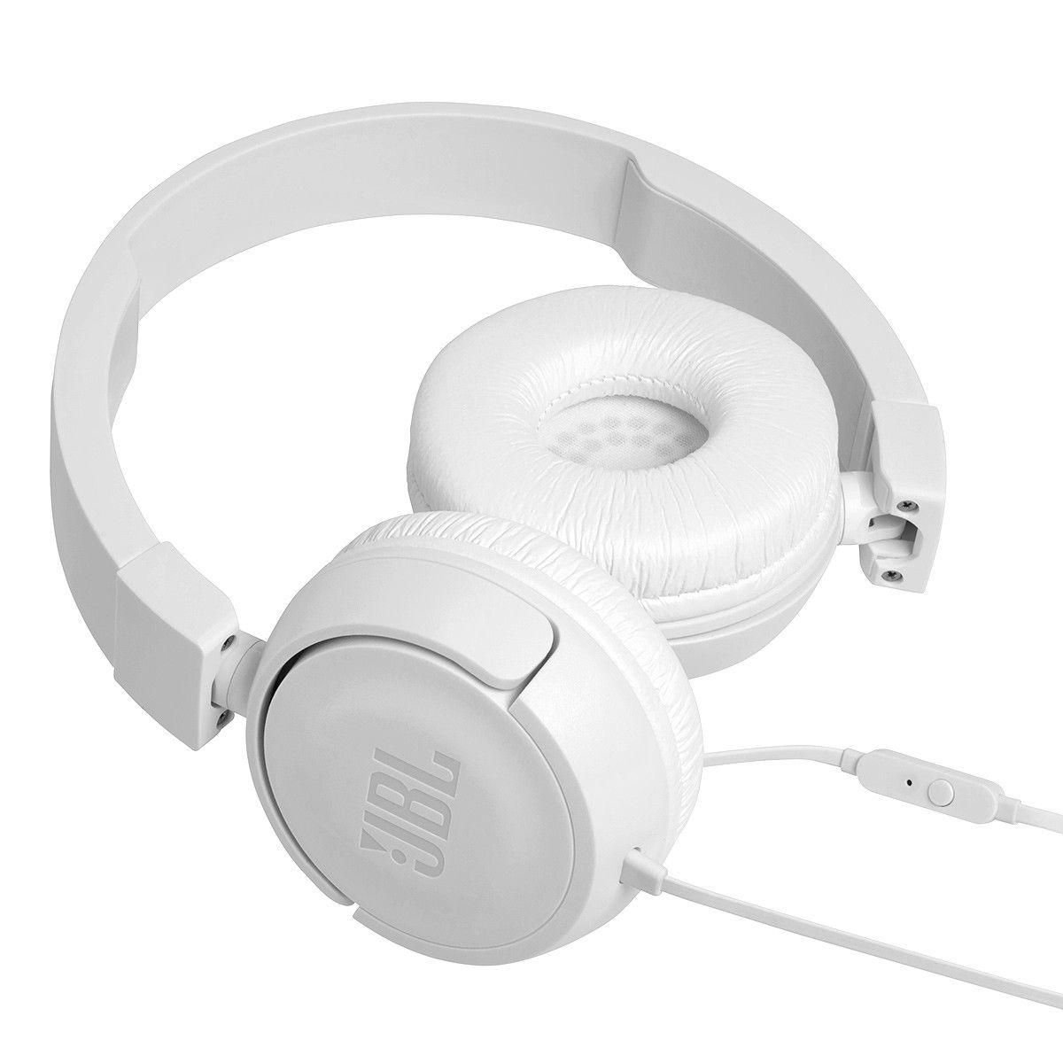 Fone de ouvido JBL T450 - Tecnologia Pure Bass, Dobrável, Microfone Embutido - Branco