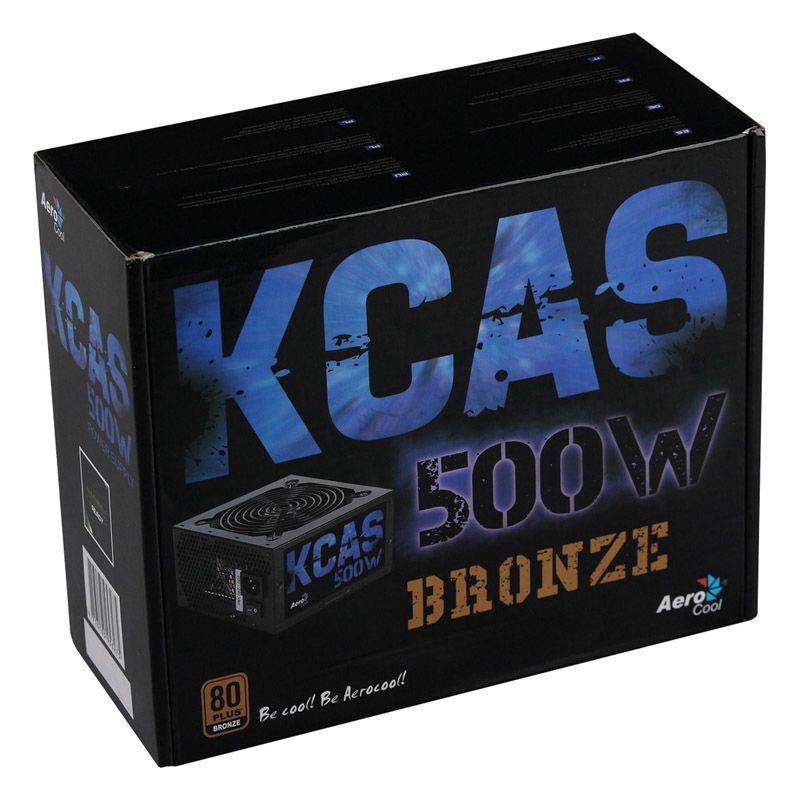 Fonte Aerocool ATX KCAS 500W - 80 Plus Bronze, PFC Ativo