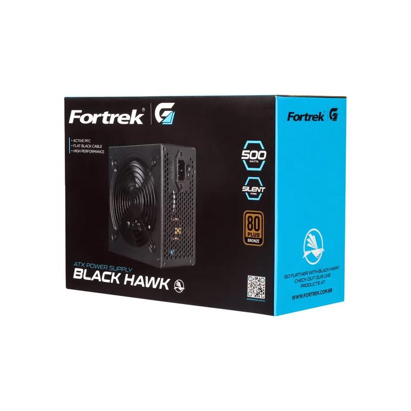 Fonte ATX 500W Real Fortrek Black Hawck - 80 Plus Bronze, PFC Ativo