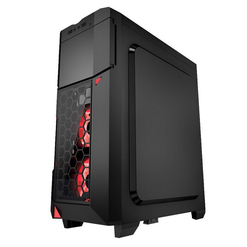 Gabinete Gamer AZZA Crimson 211 - Preto com vermelho