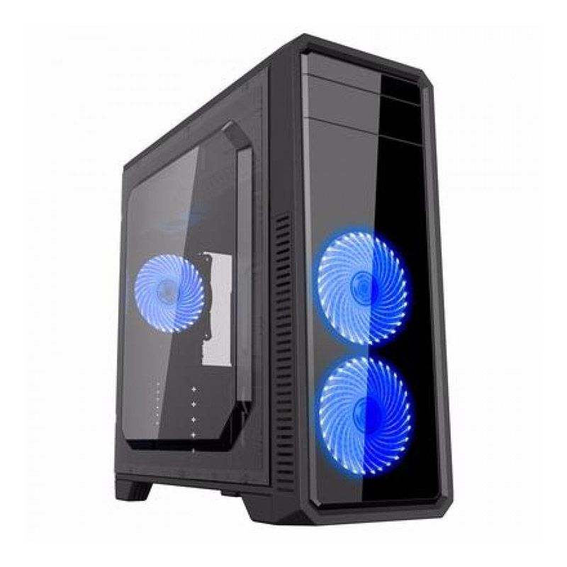 Gabinete Gamer Gamemax G561 - Preto com azul, Full window