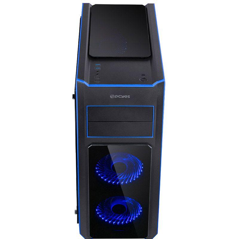 Gabinete Gamer PCYes Tank - Preto com LED azul, 3 Fans