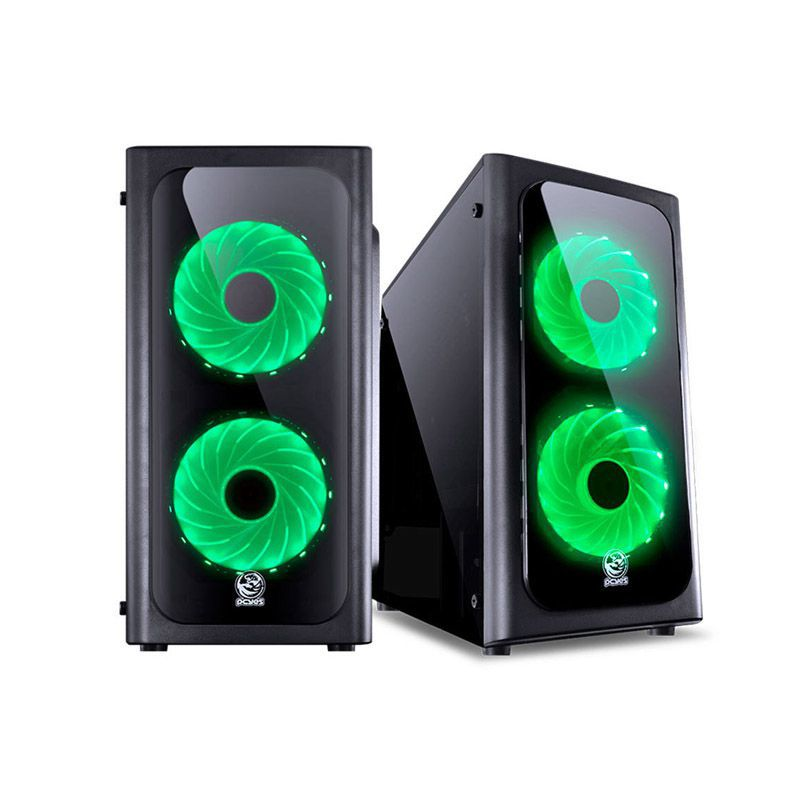Gabinete Gamer PCYes Venus – USB 3.0, Preto com LED Verde