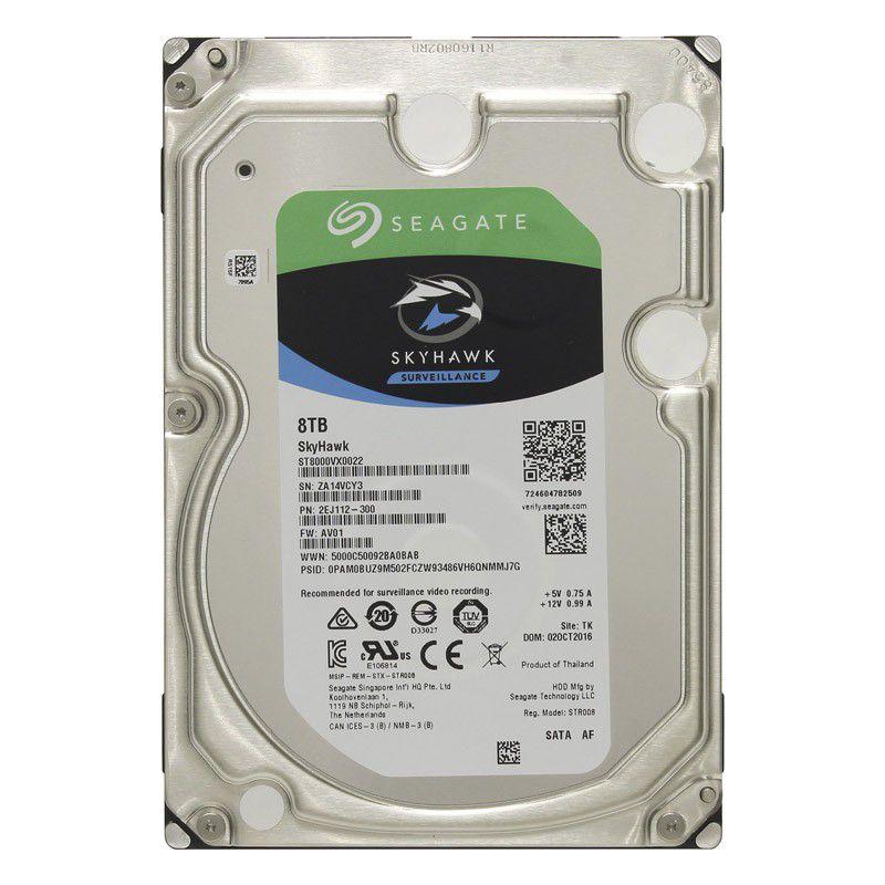 HD para Desktop 8TB Seagate Skyhawk Surveillance, SATA3 6.0Gb/s, 5900RPM, Cache de 256MB - ST8000VX0022