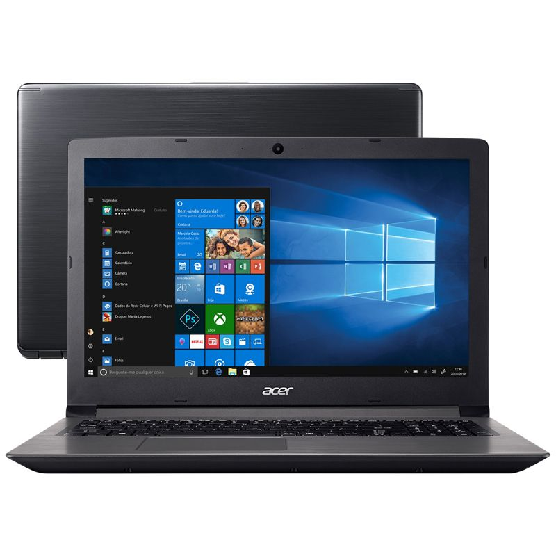 "Notebook Acer Aspire A315-41 - AMD Ryzen 5 2500U Quad-core, 12GB, SSD 240GB, Placa de Vídeo Radeon Vega 8, Tela 15.6"", Windows 10"