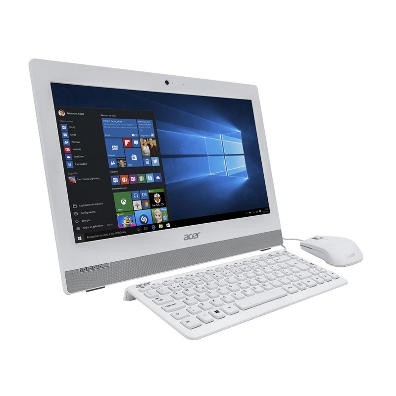 "Computador All in One Acer Aspire Z1 - Intel Quad Core, 4GB de Memória, HD de 500Gb, Gravador de DVD, USB 3.0, Tela HD de 19,5"", Windows 10 - AZ1-752-BC52, Branco"