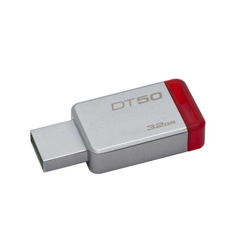 Pendrive DataTraveler 50 Kingston - 32GB, USB 3.1 - Vermelho, Metálico