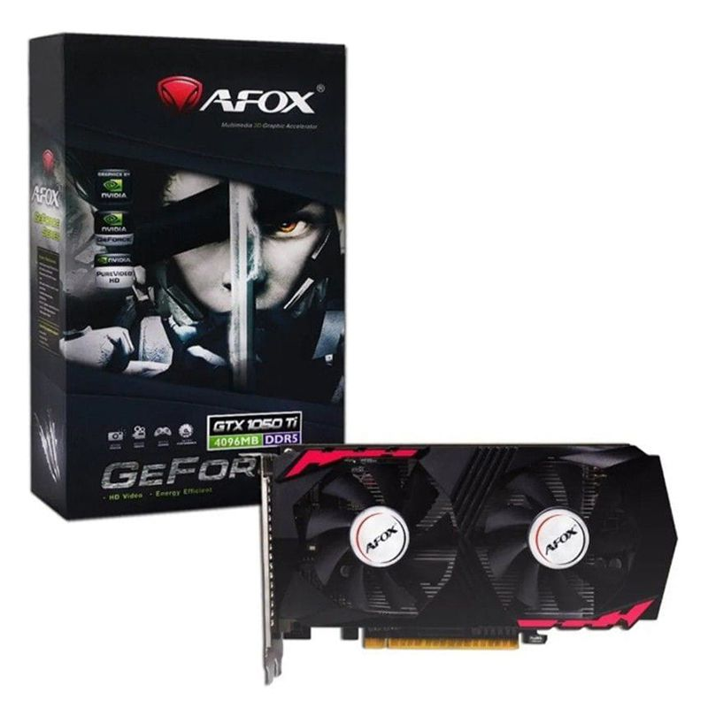 Placa de Vídeo GeForce GTX 1050Ti 4GB DDR5, 128 Bits, HMI/DVI/DP - Afox AF1050TI