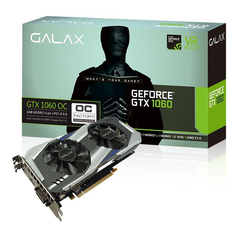 Placa de Vídeo GeForce GTX 1060 OC 6GB Galax - 192 bit, GDDR5, DisplayPort 1.4, HDMI