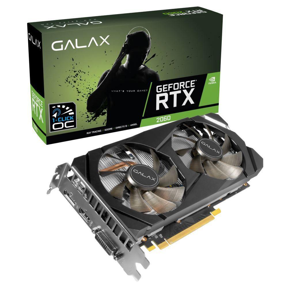 Placa de Vídeo Galax GeForce RTX 2060 - 6GB, 1-Click OC, GDDR6