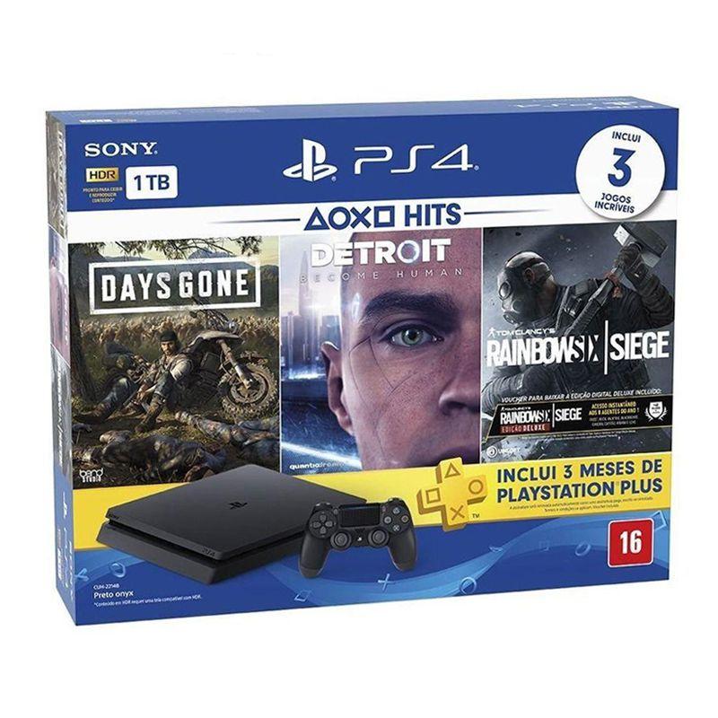 Playstation 4 Slim 1TB Edição Especial com 3 Jogos: Days Gone / Detroit / Rainbow Six - PS4 Slim Bundle