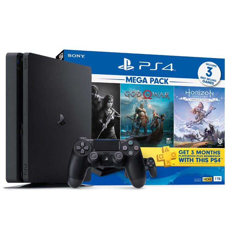 Playstation 4 Slim 1TB Edição Especial com 3 Jogos: God of War / Horizon Zero Dawn / The Last of US - PS4 Slim Bundle