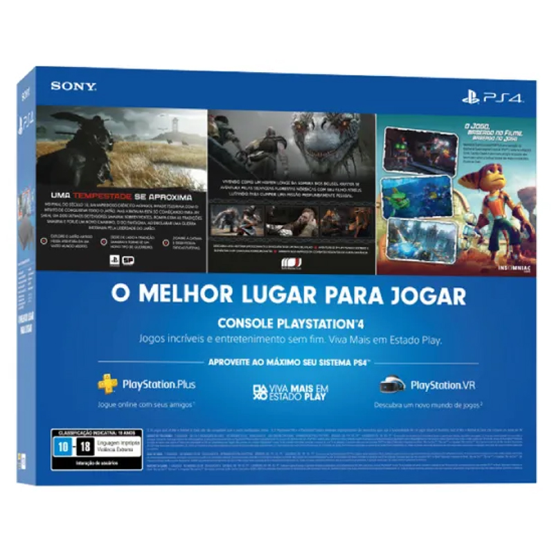 Playstation 4 Slim Edição Especial - HD 1TB, Controle + Ghost of Tsushima, God of War, Ratchet & Clank (2214B nacional)
