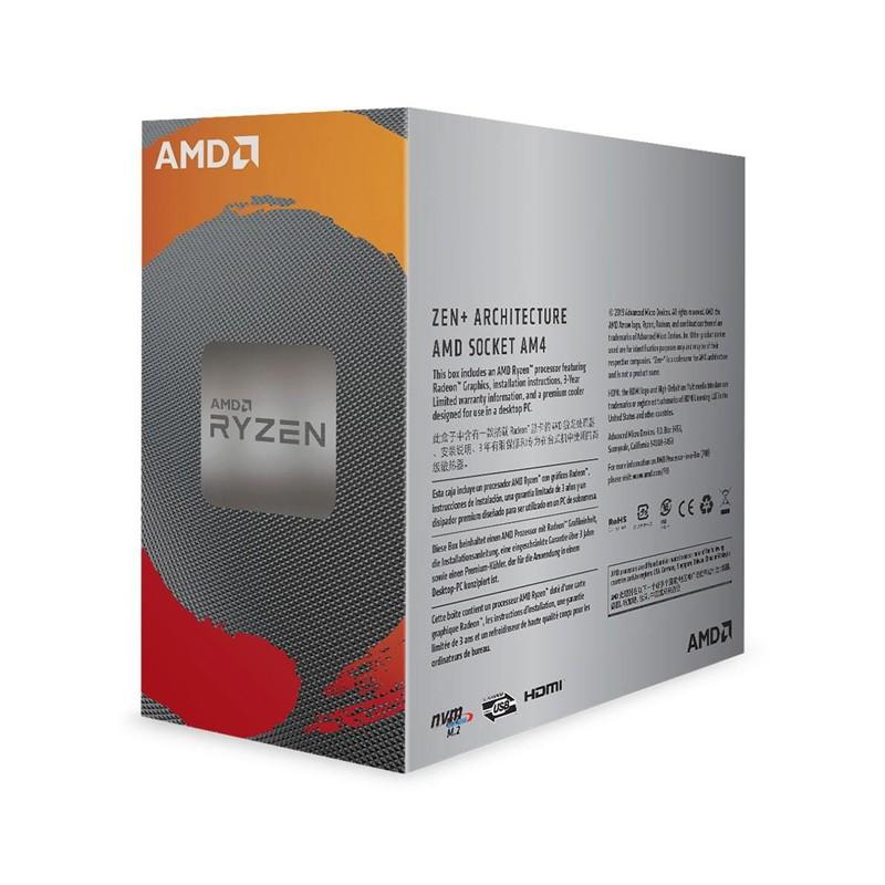 Processador AMD Ryzen 3 3200G 3.60GHz (4.0GHz Turbo), 4-Core 4-Thread, Cache 4MB, AM4 - YD3200C5FHBOX