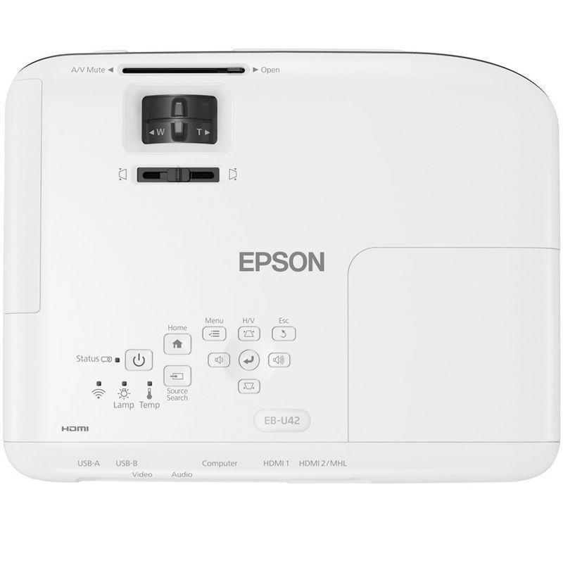 Projetor Epson PowerLite U42+ Full HD - 3600 lúmens, Resolução WUXGA, Wireless, HDMI MHL - EB-U42