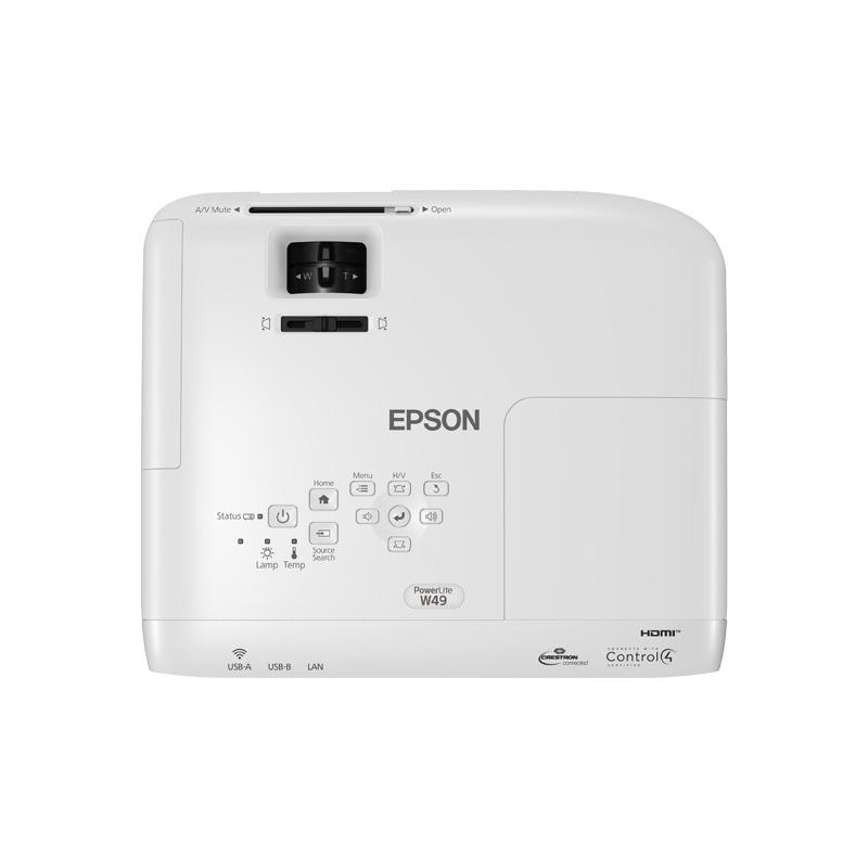Projetor Epson PowerLite W49 - 3800 Lúmens, resolução WXGA, HDMI, USB