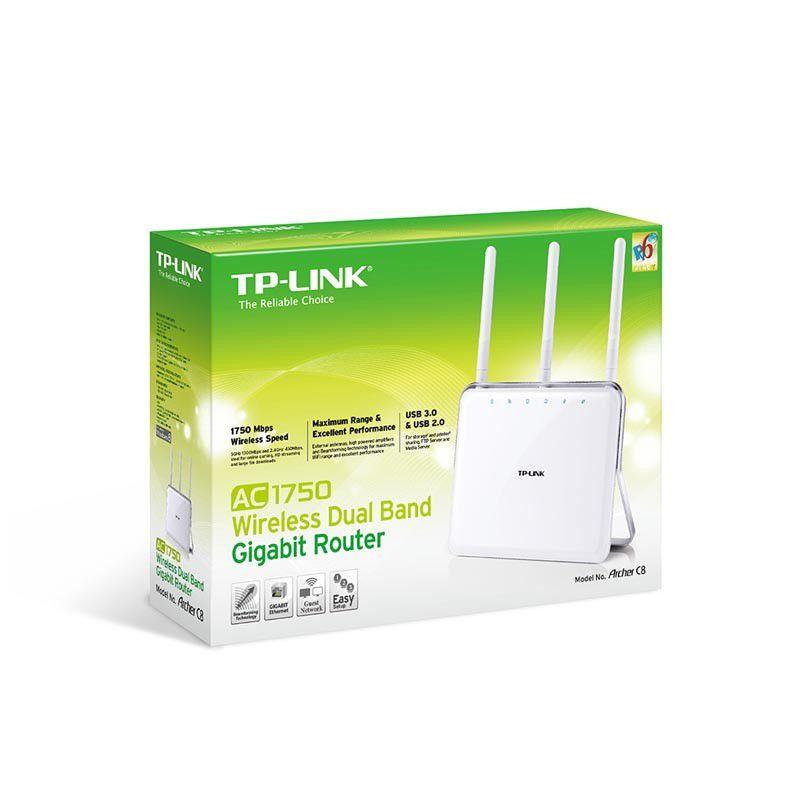 Roteador Wireless TP Link ARCHER C8 AC1750, Dual Band Gigabit, 4 Portas LAN, 1 Porta WAN, USB 2.0, USB 3.0, 3 Antenas - TP Link C8 AC1750