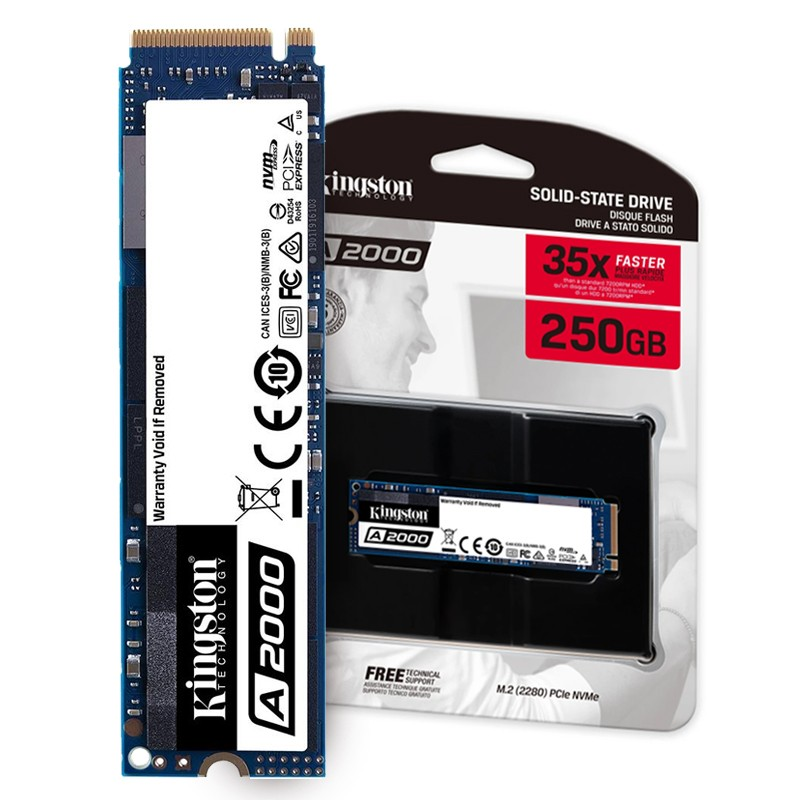 SSD 250GB M.2 NVMe Kingston A2000 - 2000MBs/1100MBs - M2 2280 SA2000M8/250G