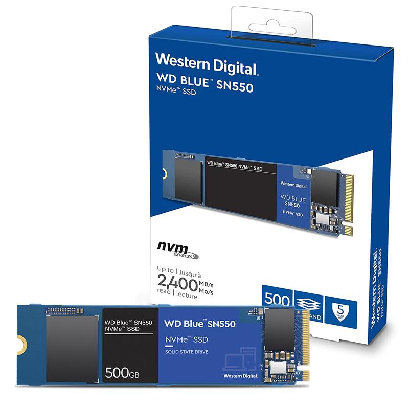 SSD 500GB M.2 NVMe WD Blue SN550 - 2400MBs/1750MBs - M2 2280 WDS500G2B0C