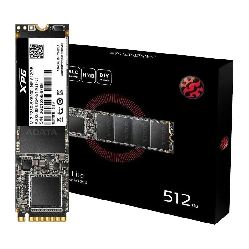 SSD 512GB M.2 NVMe ADATA XPG SX6000 Lite - 1800MBs/1200MBs - M2 2280 ASX6000LNP-512GT-C