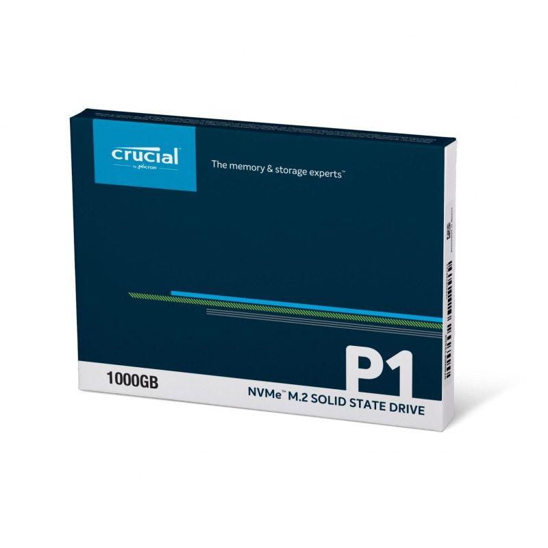 SSD M.2 Crucial P1 - 1TB, Leitura 2000MB/s, Gravação 1700MB/s