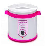 Aquecedor de Cera Titânio 1kg Bivolt - Mega Bell Branca Com Rosa Sem Refil