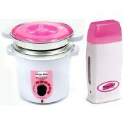 Kit Depilação Termocera 400gr Com Refil Branca Com Rosa + Aquecedor de Cera Roll-on Rosa Mega Bell