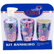 Kit Estampado Floral Lilás Para Banherio Com 03 Peças - Santa Clara