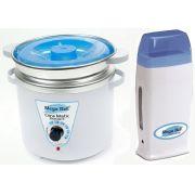Kit Panela Depilação Termocera 700gr Com Refil  Branca Com Azul + Aquecedor de Cera Roll-on Azul