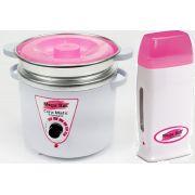 Kit Panela Depilação Termocera 700gr Com Refil Branca Com Rosa + Aquecedor de Cera Roll-on Rosa