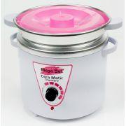 Panela Termocera para depilação Standard 700g - Bivolt Branca Com Rosa Com Refil