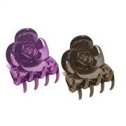 Piranha Plástica Para Cabelos Formato de Rosa Com 2 Unidades - Santa Clara