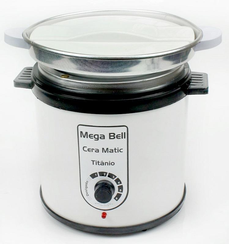 Aquecedor de Cera Titânio 1kg Bivolt - Mega Bell Com Refil Branca com Preto