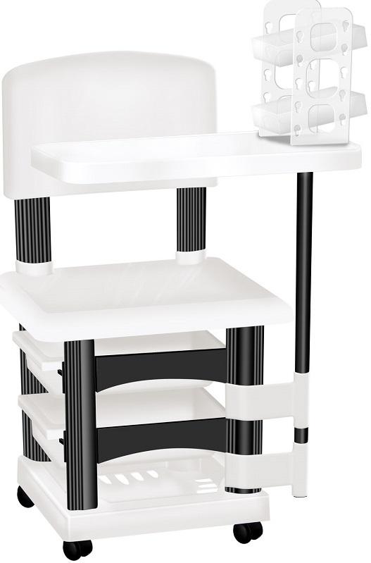 Cadeira Cirandinha Branca e Preto Para Manicure Com Display para Esmaltes