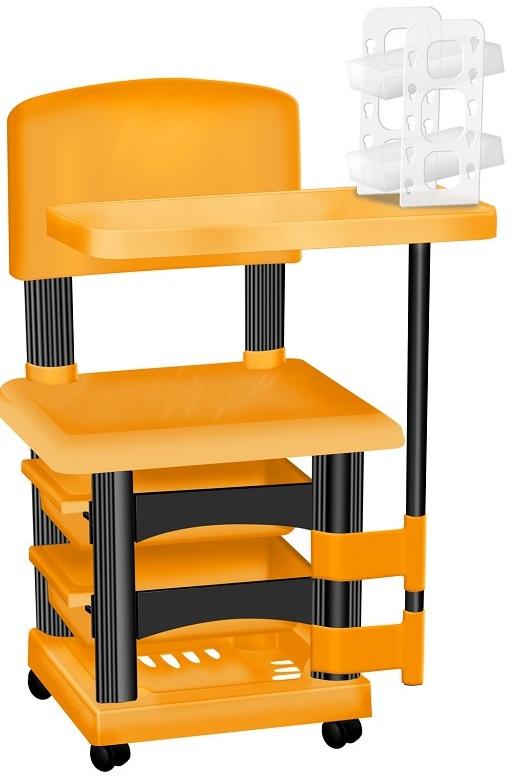 Cadeira Cirandinha Laranja e Preto Para Manicure Com Display para Esmaltes
