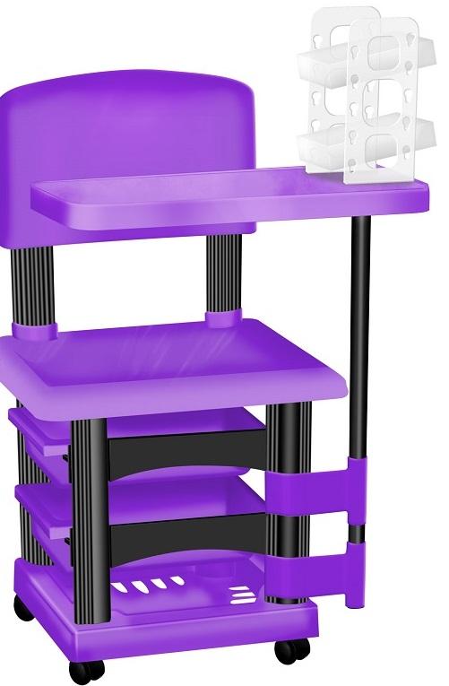 Cadeira Cirandinha Lilás e Preto Para Manicure Com Display para Esmaltes