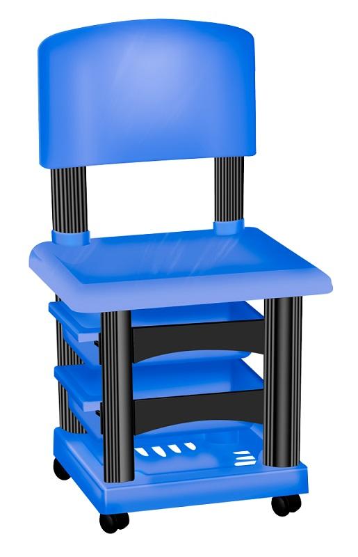 Cadeira Cirandinha Simples Azul e Preta Para Manicure - Santa Clara