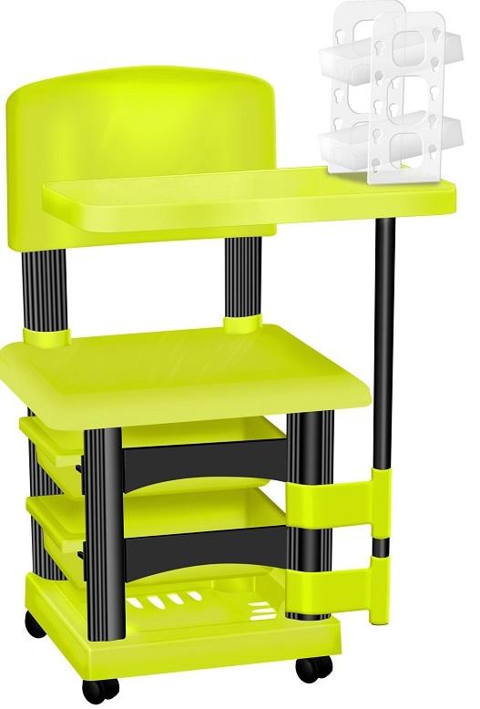 Cadeira Cirandinha Verde e Preto Para Manicure Com Display para Esmaltes