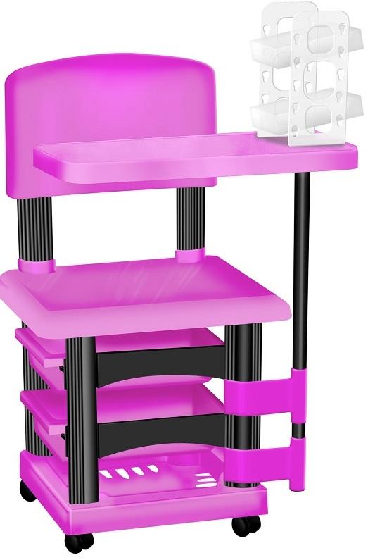 Cadeira Cirandinha Rosa e Preto Para Manicure Com Display para Esmaltes