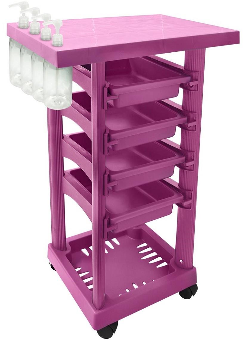 Carrinho Multiuso Pink com 4 Frascos 1L e Porta Shampoo/Creme - Santa Clara