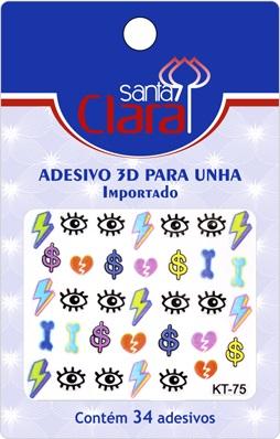 Cartela De Adesivos  KT-75 Para Unha 3D  - Santa Clara
