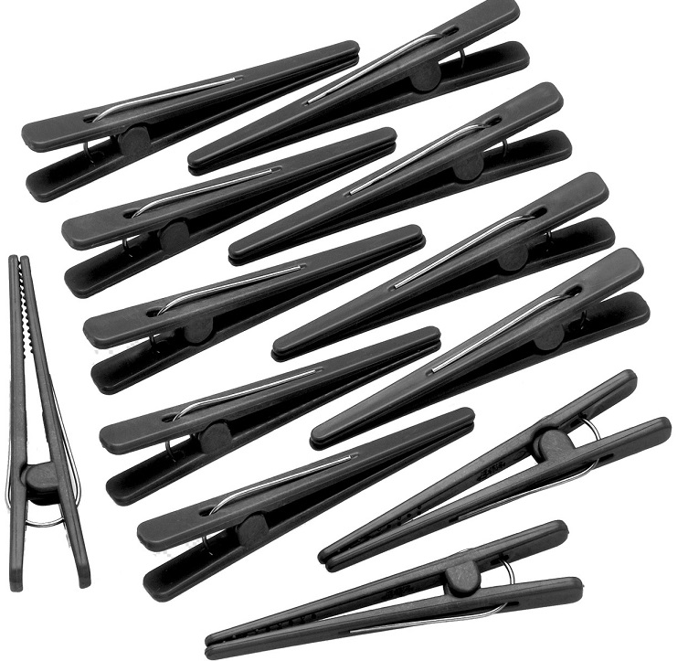 Clips Preto Plástico Para Cabelo com 12 Unidades