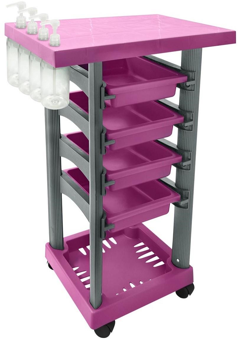 Carrinho Multiuso Pink/Prata com 4 Frascos 1L e Porta Shampoo/Creme - Santa Clara
