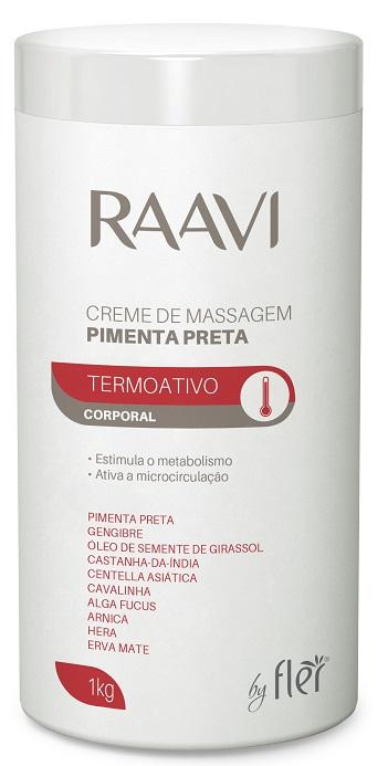 Creme Para Massagem Termoativo de Pimenta Preta 1kg