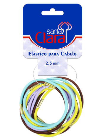Elásticos Em Cores Sortidas 2,5mm MD 01 Para Cabelos 12 Unidades - Santa Clara