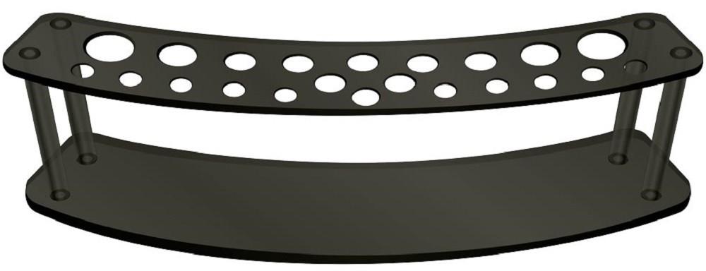 Expositor Acrílico 5mm Preto com 22 Cavidades Para Pincéis - Santa Clara