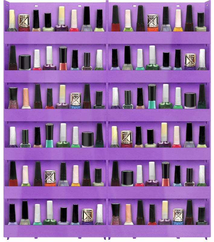 Expositor de Parede Para Esmaltes 12 bandejas - Lilás