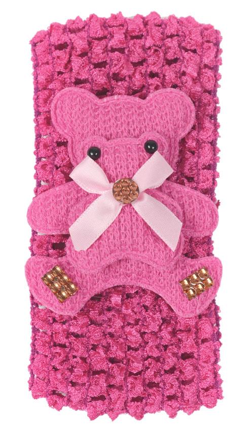 Faixa Luxo Pink Larga Para Cabelos Com Feltro Urso - 01 Unidade