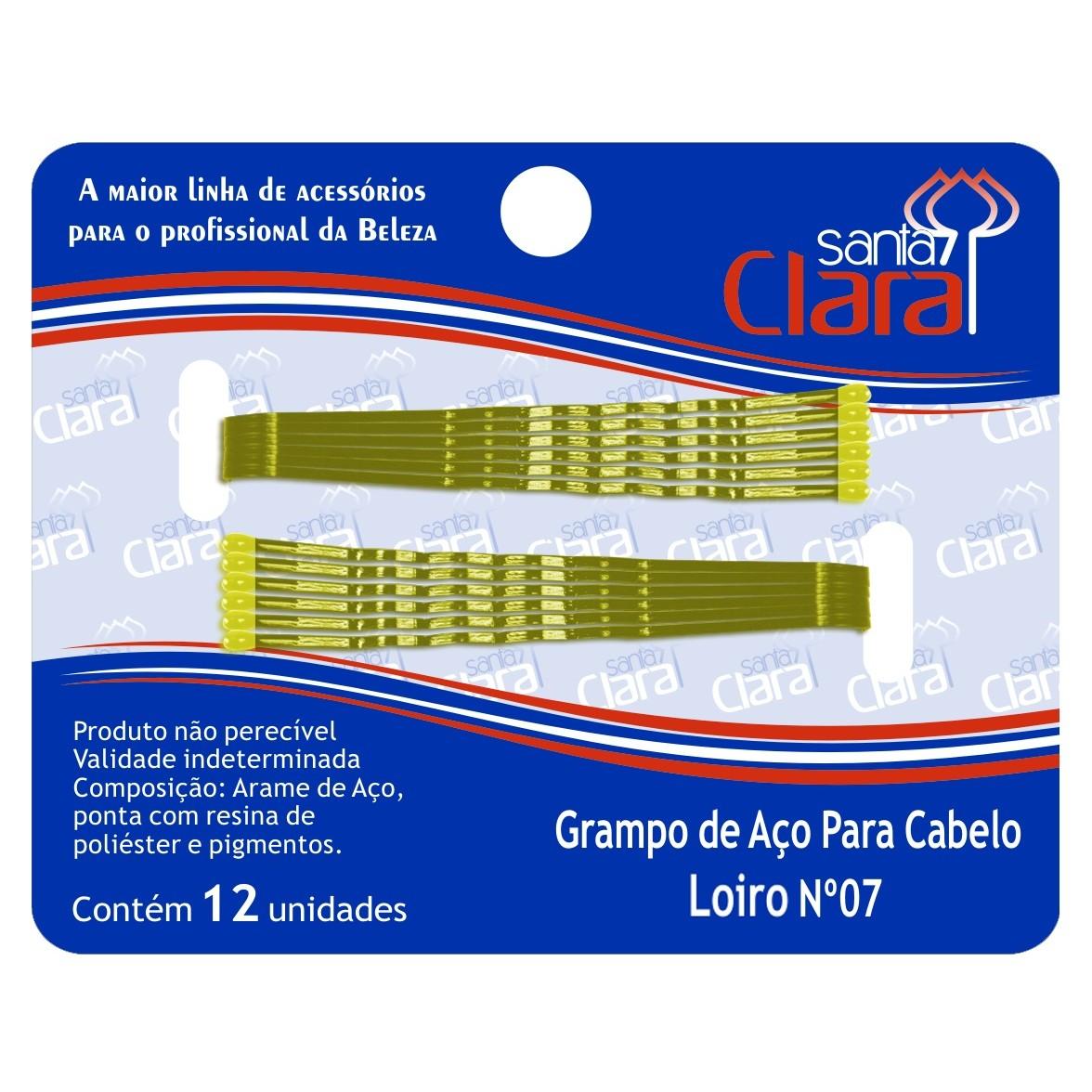 Grampo De Aço Para Cabelo Loiro N° 07 - 12 Unidades