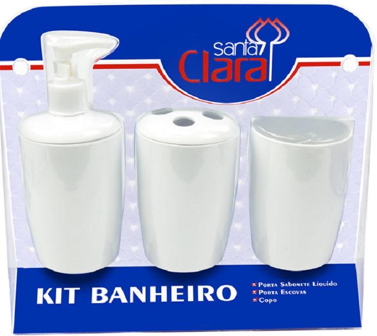 Kit Com 03 Peças Para Banheiro Branco- Santa Clara